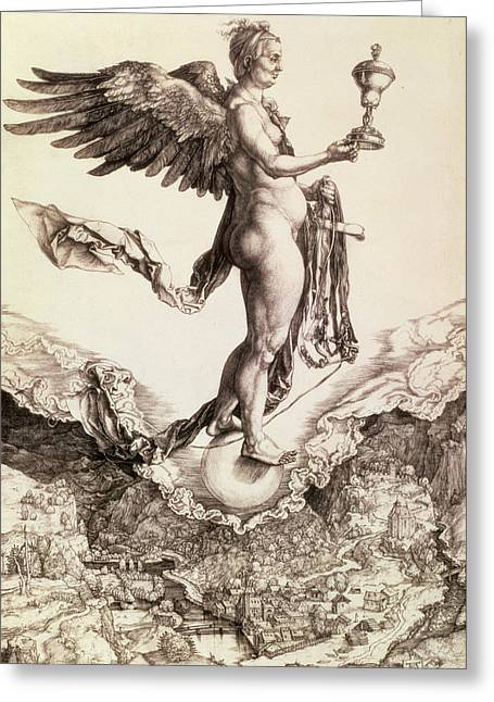 Flight Drawings Greeting Cards - Nemesis Greeting Card by Albrecht Durer