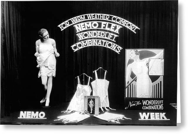 Nemoflex Wonderlift Garments Greeting Card by Underwood Archives