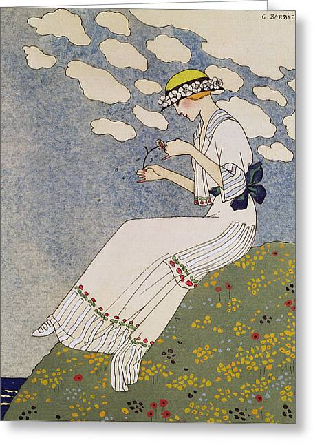 Sea View Greeting Cards - Nen Dites Rien Greeting Card by Georges Barbier