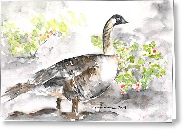 Nene #2 - Hawaiian Goose Greeting Card by Claudia Hafner