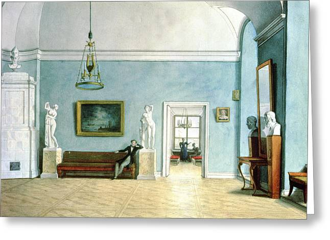 Neo Greeting Cards - Neo-classical Interior, C.1820 Wc On Paper Greeting Card by Fedor Petrovich Tolstoy