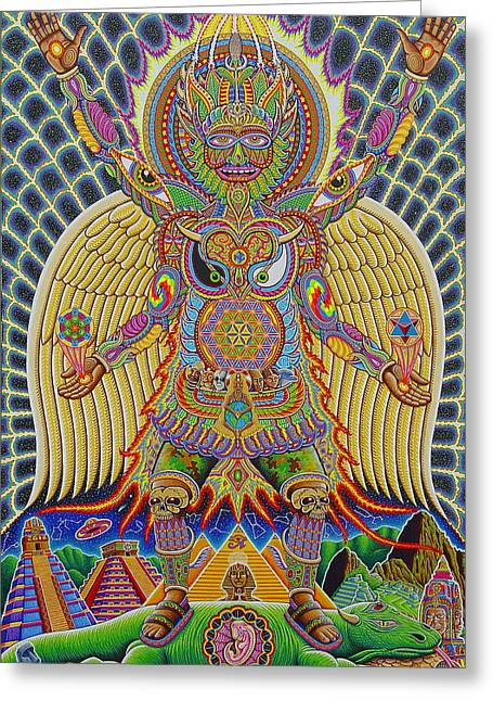 Trippy Greeting Cards - Neo Human Evolution Greeting Card by Chris Dyer