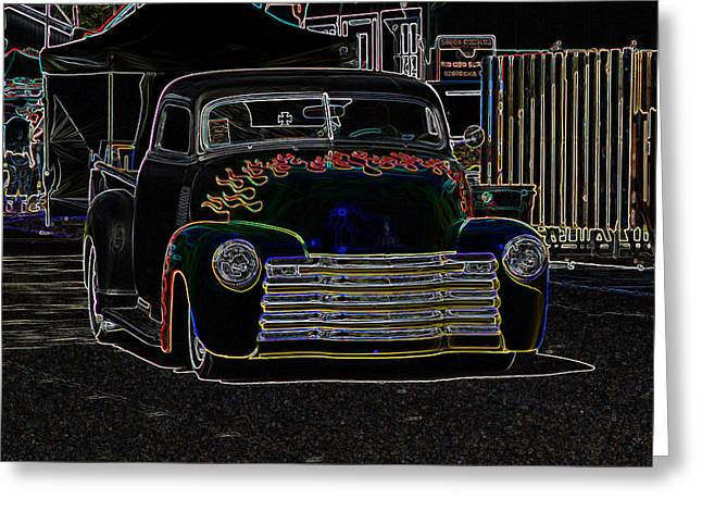 32 Ford Truck Greeting Cards - Neon 1948 Chevy Pickup Greeting Card by Steve McKinzie