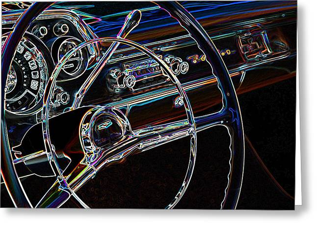 32 Ford Truck Greeting Cards - Neon 1957 Chevy Dash Greeting Card by Steve McKinzie