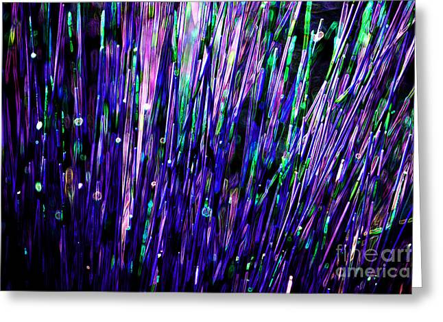 Lounge Digital Art Greeting Cards - Neon Abstract Blue Purple 2 Greeting Card by Natalie Kinnear