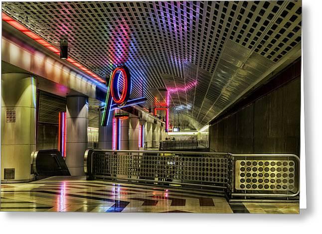 Pershing Greeting Cards - Neon Art of Pershing Square Metro Greeting Card by Mountain Dreams