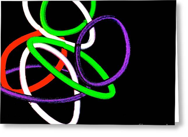 Stretchy Greeting Cards - Neon Connection Greeting Card by Cindy Nearing