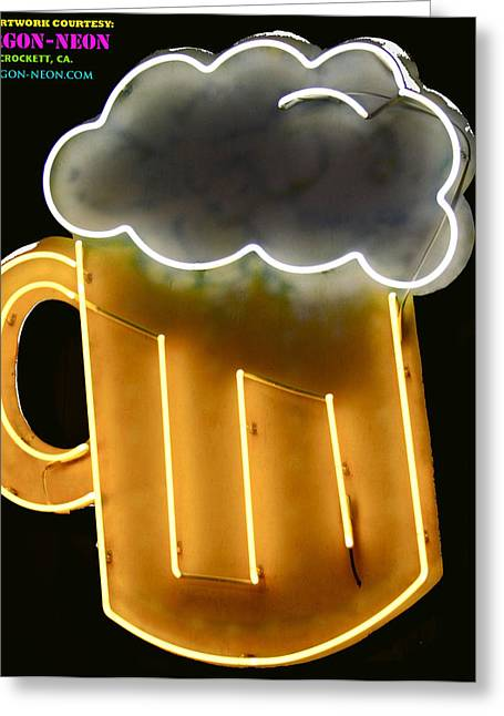 Signed Pyrography Greeting Cards - Neon beer copy Greeting Card by DUG Harpster