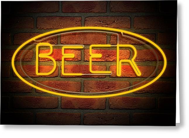 Neon Greeting Cards - Neon Beer Sign on A Face Brick Wall Greeting Card by Allan Swart