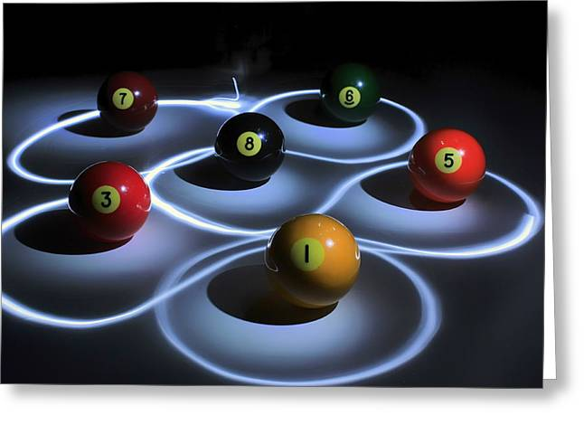 Billiards Greeting Cards - Neon Billiards Greeting Card by Mountain Dreams