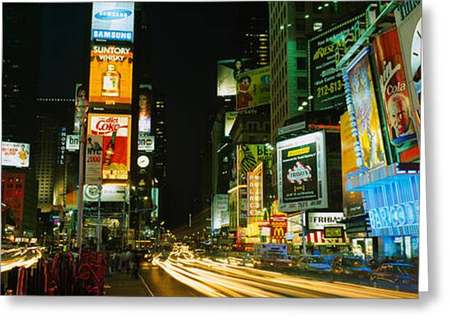 Life Speed Greeting Cards - Neon Boards In A City Lit Up At Night Greeting Card by Panoramic Images