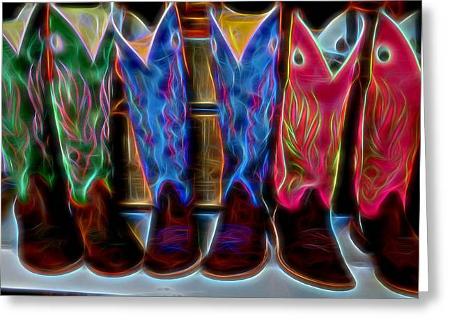Boots Digital Art Greeting Cards - Neon Boots Greeting Card by Michael Biggs