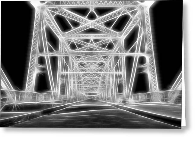 Chrome Mixed Media Greeting Cards - Neon Bridge At Night Greeting Card by Dan Sproul