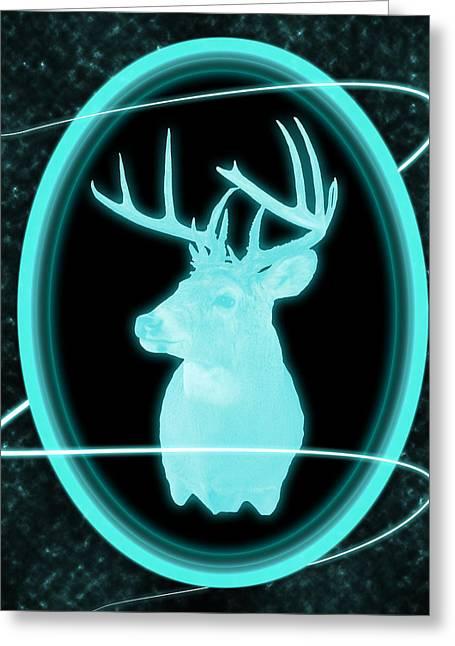 Dark Skies Greeting Cards - Neon Buck Greeting Card by Shane Bechler