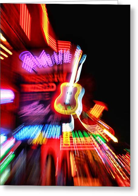 Live Music Greeting Cards - Neon Burst In Downtown Nashville Greeting Card by Dan Sproul