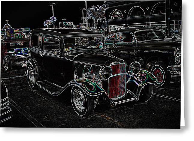 32 Ford Truck Greeting Cards - Neon Car Show Greeting Card by Steve McKinzie