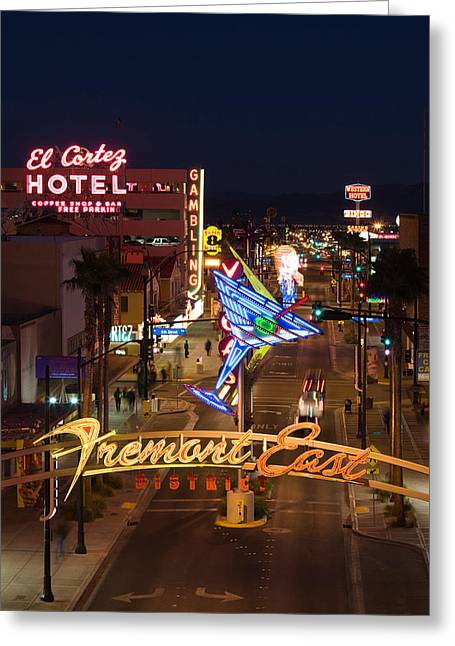 Fremont Street Greeting Cards - Neon Casino Signs Lit Up At Dusk, El Greeting Card by Panoramic Images