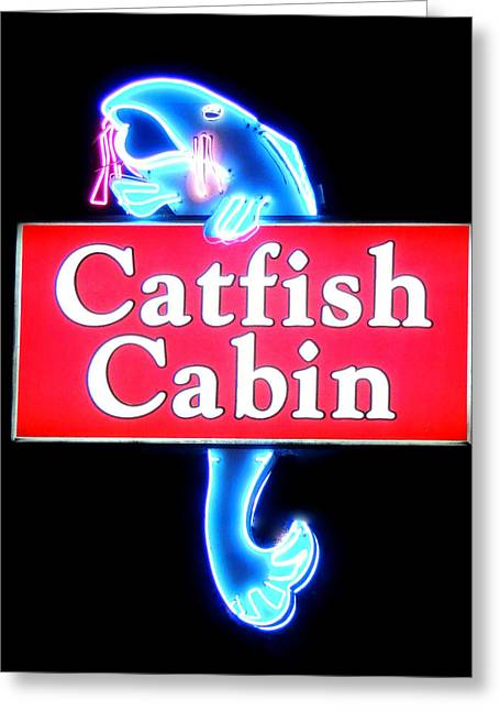 Southern Cooking At Restaurant Greeting Cards - Neon Catfish Cabin  Greeting Card by Mark Moore