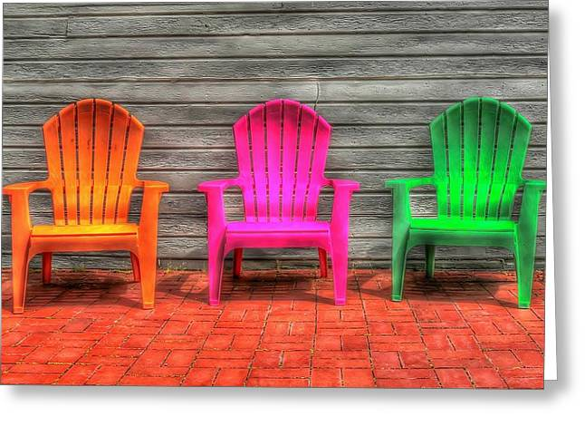 Lawn Chair Greeting Cards - Neon Chairs Greeting Card by Michael Berry