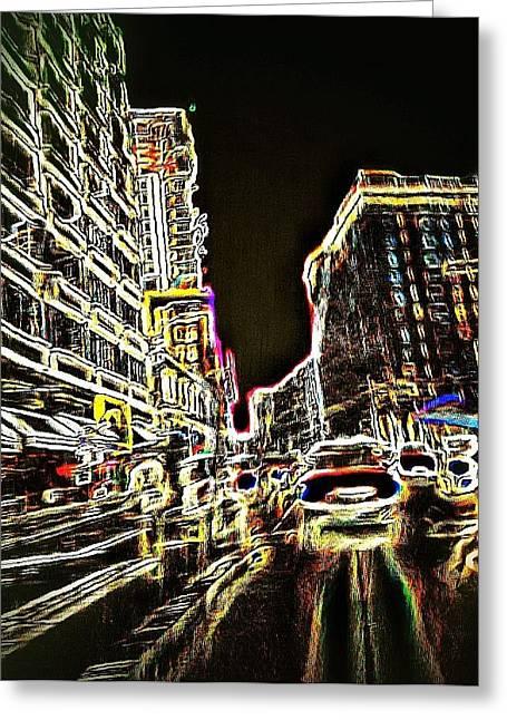 Best Sellers -  - Crosswalk Greeting Cards - Neon City Night Greeting Card by Eddie G