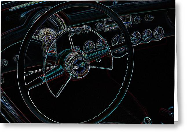 32 Ford Truck Greeting Cards - Neon Corvette Dash Greeting Card by Steve McKinzie