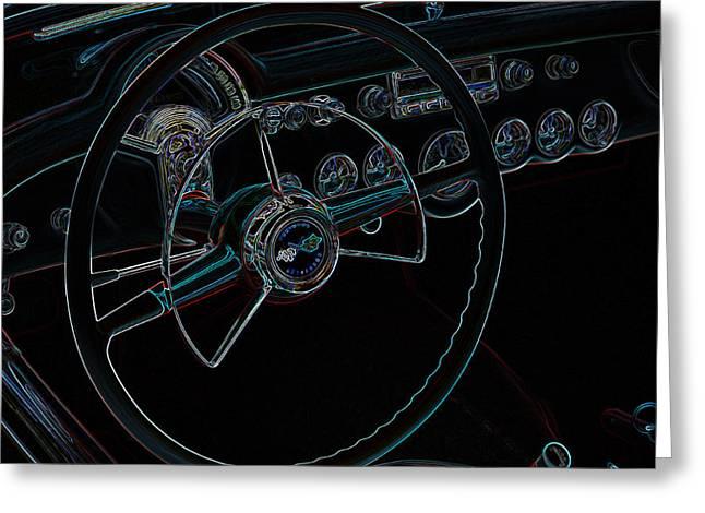 Neon Corvette Dash Greeting Card by Steve McKinzie