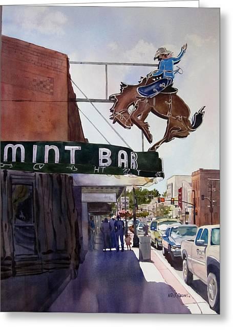 Neon Cowboy Greeting Card by Kris Parins