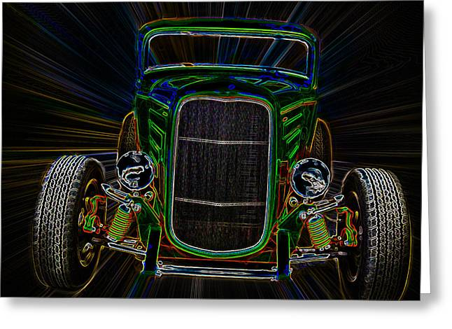 32 Ford Truck Greeting Cards - Neon Deuce Coupe Greeting Card by Steve McKinzie