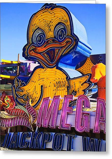 Neon Greeting Cards - Neon duck Greeting Card by Garry Gay