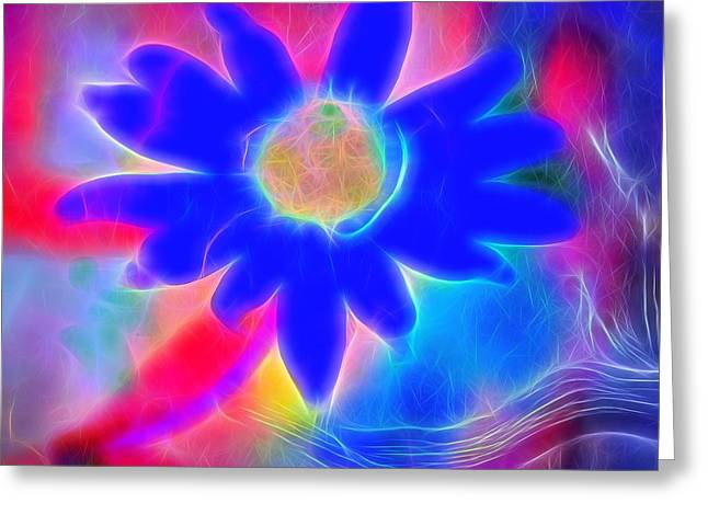 Neon Colors Greeting Cards - Neon Flower Greeting Card by Dan Sproul