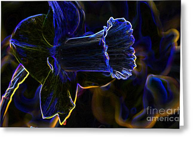 Creative Photography Pictures Greeting Cards - Neon Flowers Greeting Card by Charles Dobbs