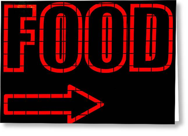 Deli Greeting Cards - Neon Food Sign Greeting Card by Chay Bewley