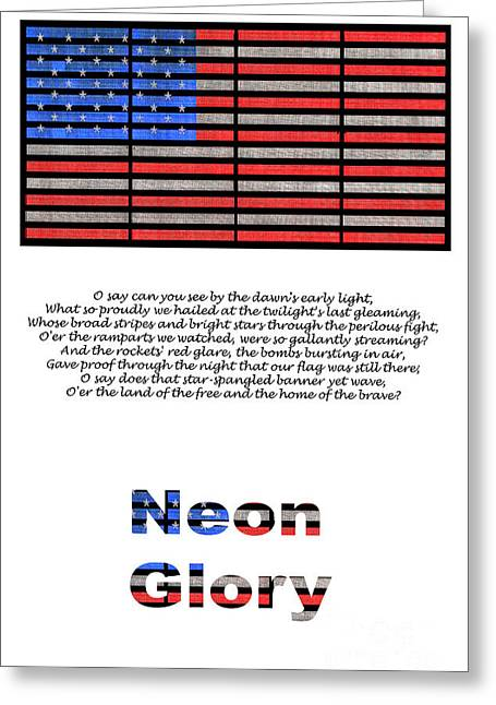 National Anthem Greeting Cards - Neon Glory Greeting Card by John Farnan