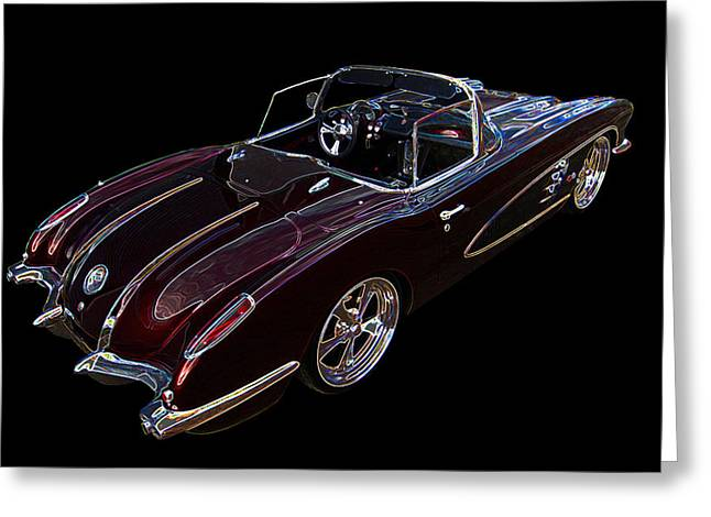 Black Muscle Greeting Cards - Neon Glow Corvette C1 1958 Greeting Card by Gill Billington