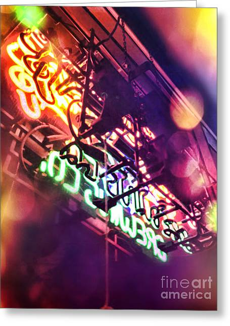 Window Bars Greeting Cards - Neon Greeting Card by HD Connelly