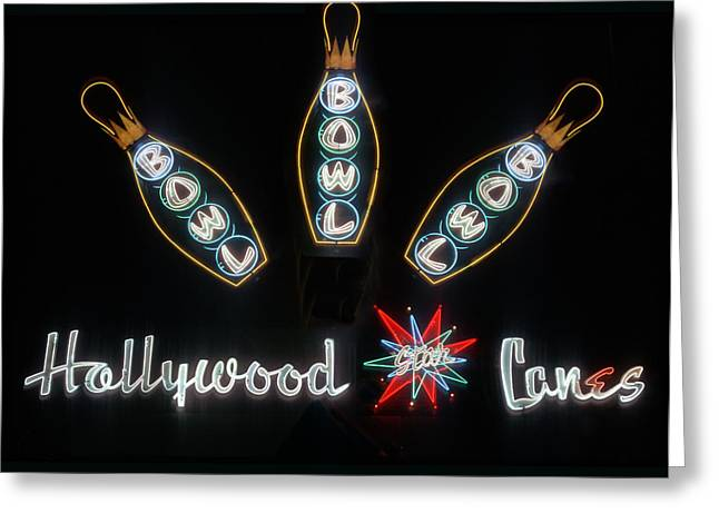 Big Lebowski Photographs Greeting Cards - Neon Hollywood Star Lanes Greeting Card by Barbara Filet