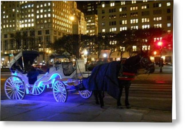 Hansom Cab Greeting Cards - Neon Horse and Carriage Greeting Card by Carolyn Quinn