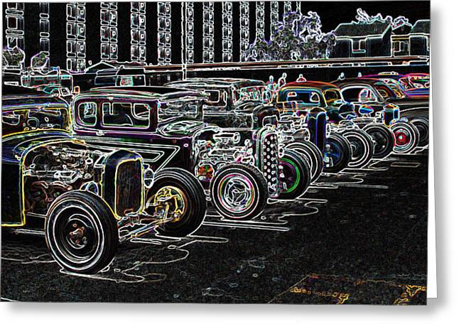 32 Ford Truck Greeting Cards - Neon Hot Rod Row  Greeting Card by Steve McKinzie