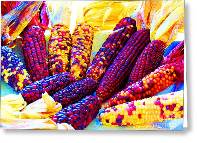 Neon Indian Corn Greeting Card by Tina M Wenger