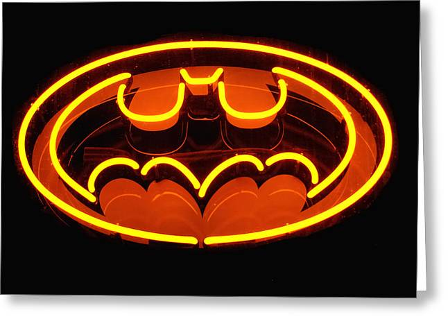 Caped Crusader Greeting Cards - Neon Knight - Hero Rising Greeting Card by Steven Milner