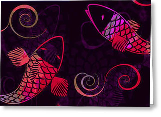 Decorative Fish Greeting Cards - Neon Koi - Pannel Greeting Card by Andrea Ribeiro