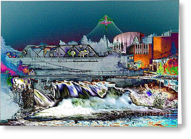 """spokane Falls"" Greeting Cards - Neon Lights of Spokane Falls Greeting Card by Carol Groenen"