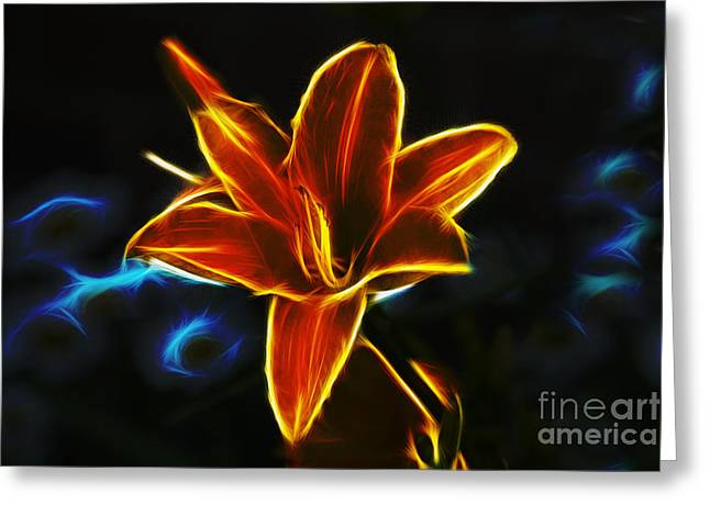 Neon Art Greeting Cards - Neon Lily Greeting Card by Ian Mitchell