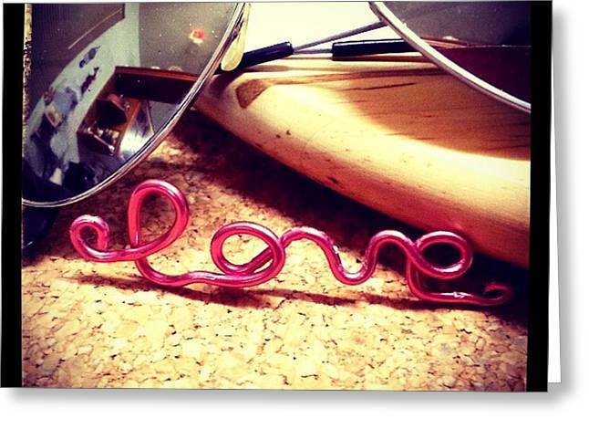 Fashion Jewelry Greeting Cards - Neon Love Greeting Card by Theano Exadaktylou