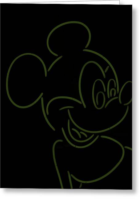 Olive Drab Greeting Cards - Neon Mickey Olive Green Greeting Card by Rob Hans
