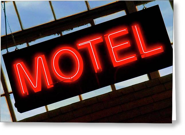 Neon Motel Sign Greeting Card by Mike McGlothlen