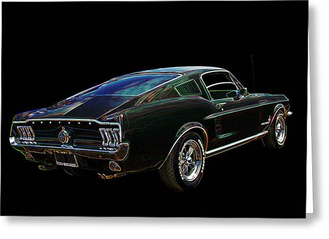 Blue And Brown Greeting Cards - Neon Mustang Fastback 1967 Greeting Card by Gill Billington