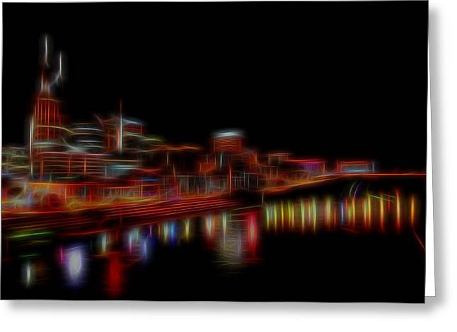 Tennessee River Mixed Media Greeting Cards - Neon Nashville Skyline At Night Greeting Card by Dan Sproul