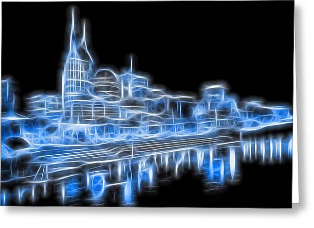 Tennessee River Greeting Cards - Neon Nashville Skyline Greeting Card by Dan Sproul