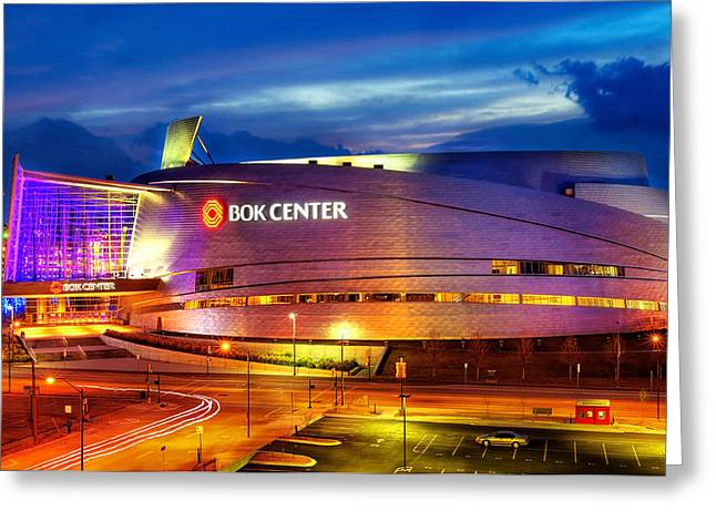 Landscapes Photographs Greeting Cards - Neon Night - BOK Center - Tulsa Oklahoma Greeting Card by Gregory Ballos